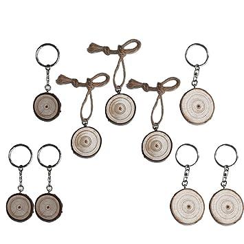 RainBabe Porte-clés Fait Main 2 Porte-clés + 1 Ficelle +3 Bois avec ... 177ee2064aa