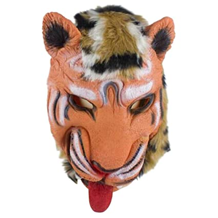 XILALU Horror Animal Head Mask, Halloween Creepy Tiger Wolf Furry Latex  Headgear Party Cosplay Costume Props Toy