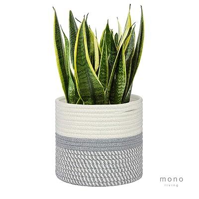 "mono living Cotton Rope Plant Basket 7"" x 7"" Modern Indoor Planter Up to 6"" Flower Pot with Handles Gift Idea for Storage Organizer Home Decor : Garden & Outdoor"