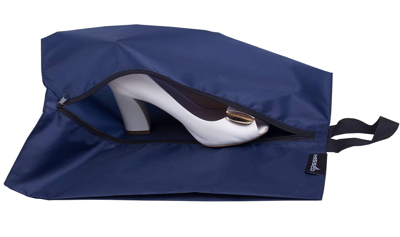 Pack 4, Black MISSLO Portable Nylon Travel Shoe Bags with Zipper Closure