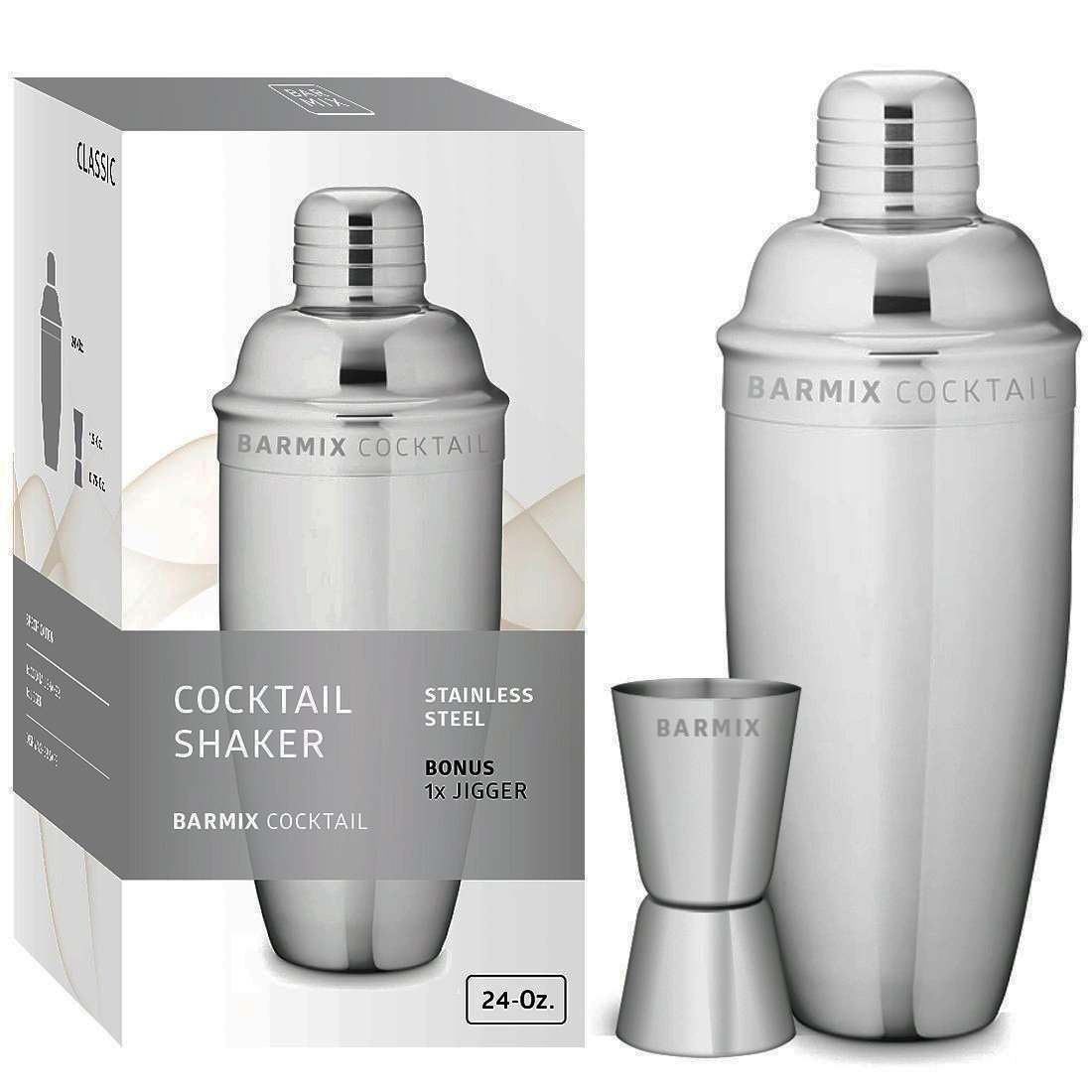 Barmix Martini Cocktail Shaker 24 Ounces, Stainless Steel, Jigger Included COMINHKPR110554