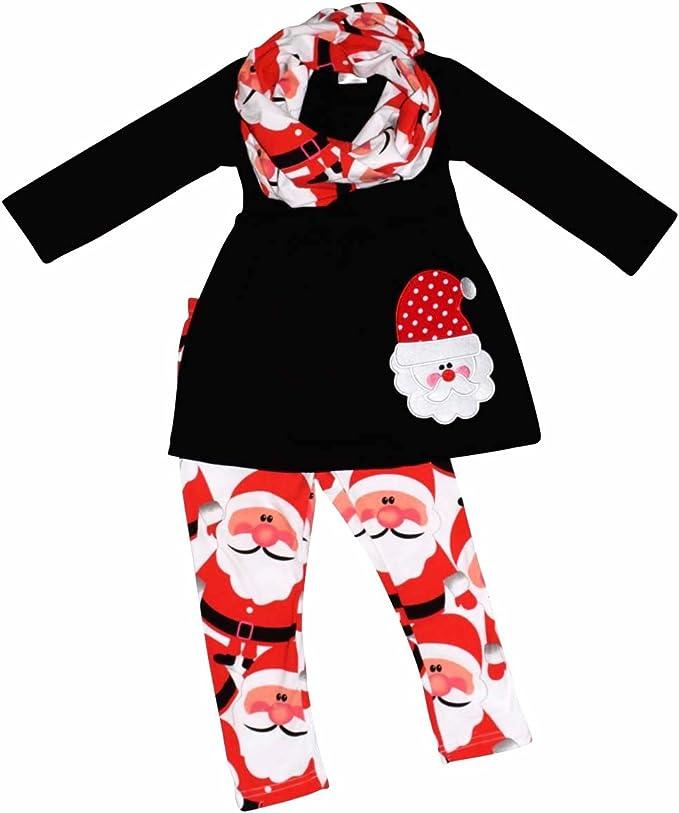 Amazon.com: Unique bebé niñas Navidad Santa Claus Legging (3 ...