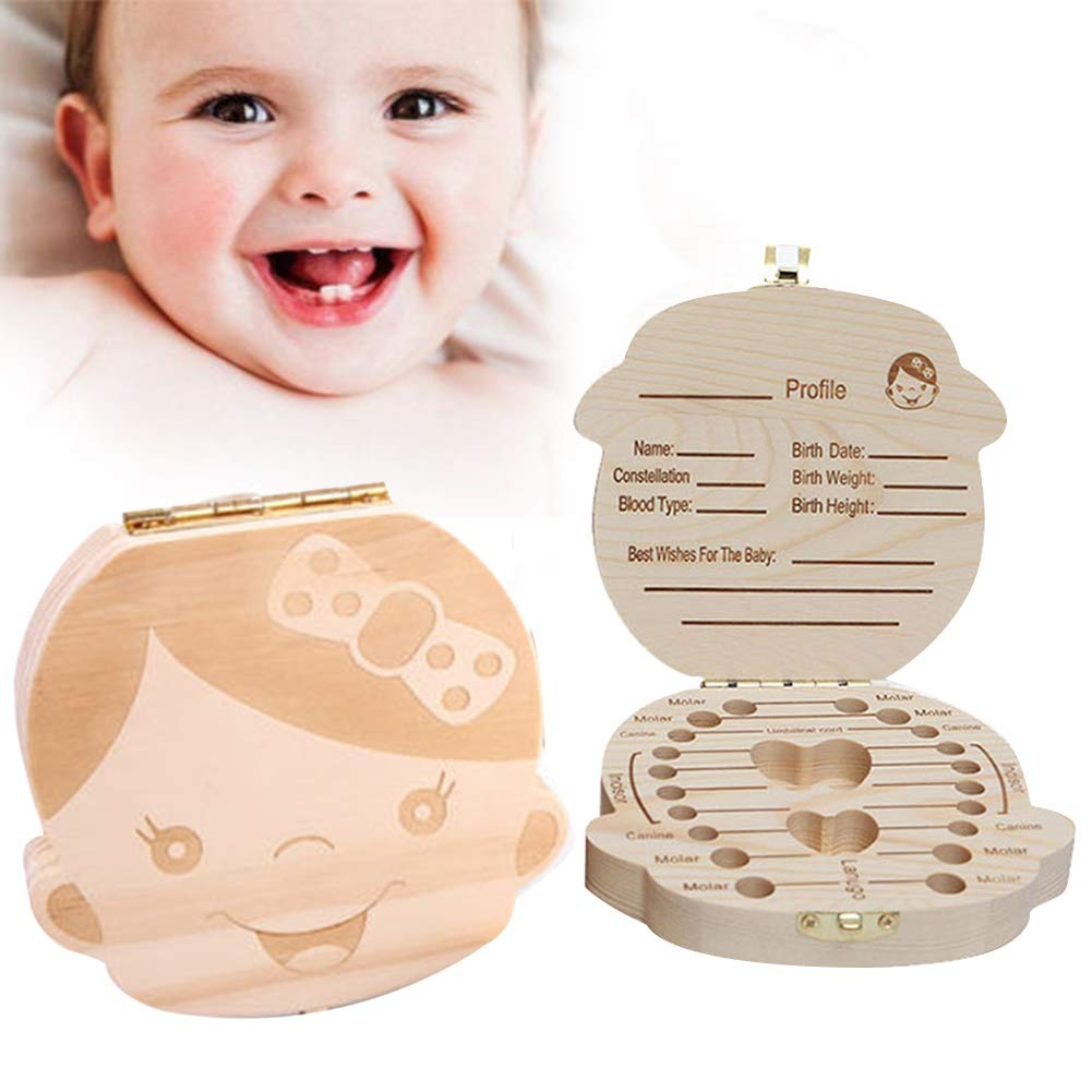 Glucktrade Kids Baby Tooth Box Wooden Baby Keepsake Box,Cute Children Tooth Fairy Box Tooth Holder Container,Baby Teeth Save Box Organizer Child Tooth Storage with Tweezers to Keep the Childwood Memory Boy-French