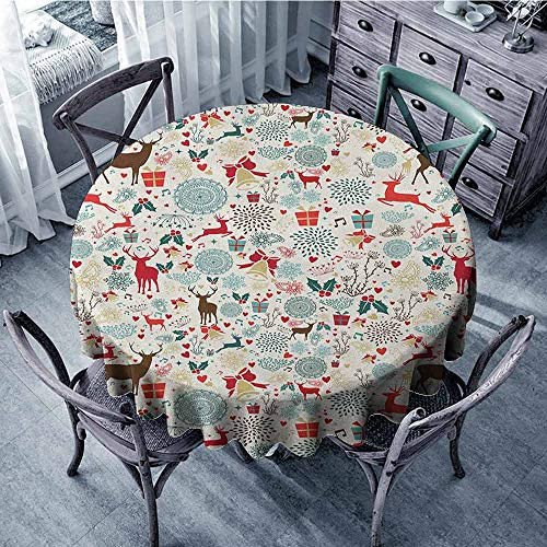 ScottDecor Waterproof Round Tablecloth Fabric Tablecloth Christmas,Vintage Xmas Theme Icons Hearts Jingle Bells Deer Floral Details, Petrol Blue Red and Brown Diameter 60