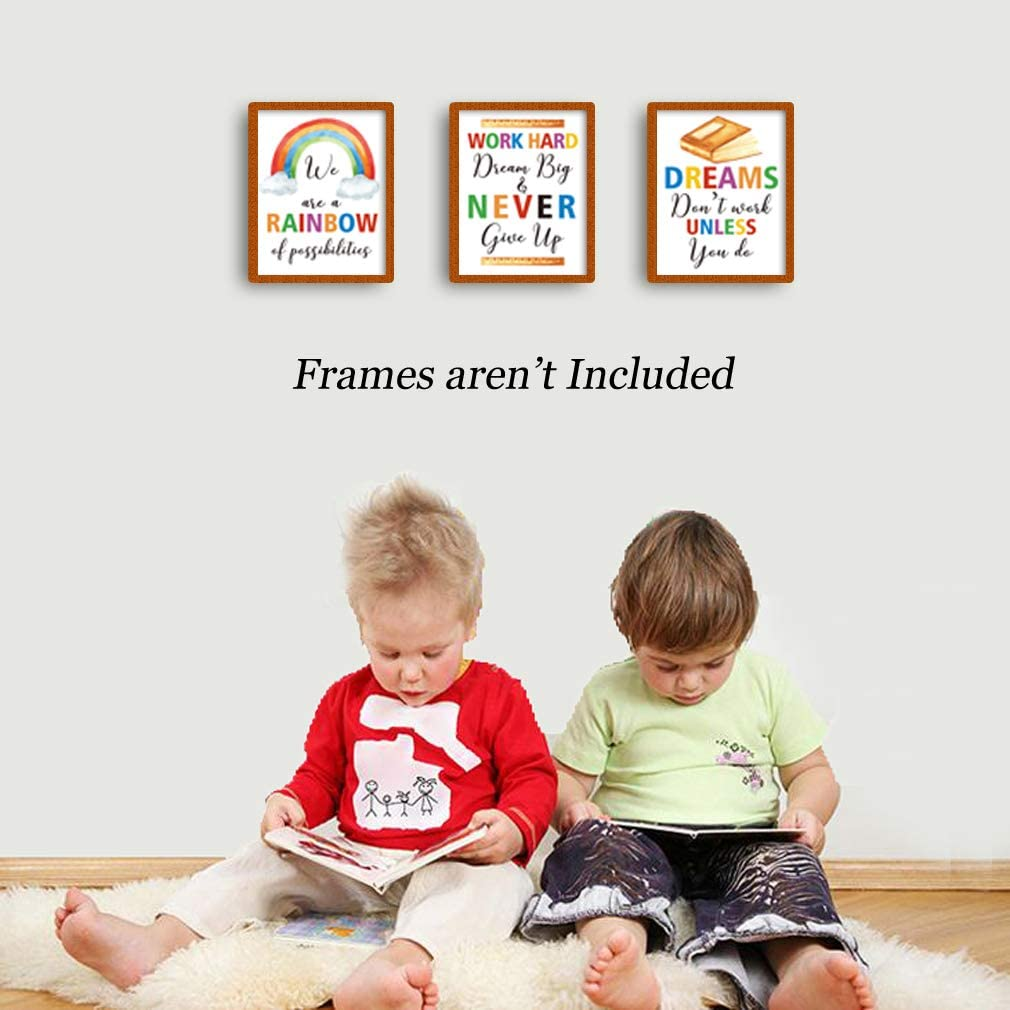 """No Frame Rainbow World Crayon Ink Splatters Wall Art for Nursery Classroom Kids Playroom 8/""""X10/"""" Colorful Words Art Prints Inspirational Quotes Motivational Saying Canvas Poster Set of 6"""
