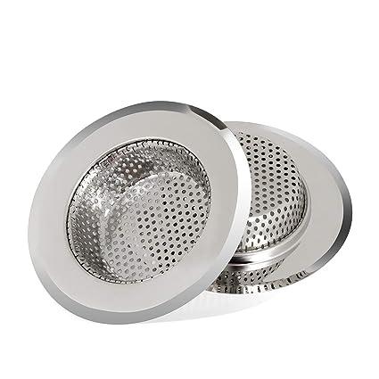 LARNACA 2PCS Kitchen Sink Drain Strainer, Premium Stainless Steel, Large  Wide Rim 4.33\