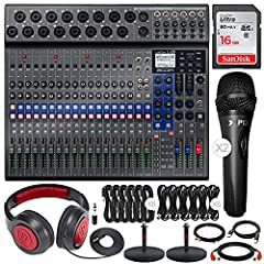 "The Zoom LiveTrak L-20 is the perfect digital console for mixing, monitoring, recording, and streaming sophisticated productions. It features 20 discrete channels, 16 mono plus 2 stereo, with XLR or 1/4"" connectivity. The built-in SD recorder..."