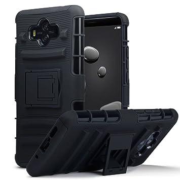 TERRAPIN Huawei Mate 10 Carcasa Híbrida de Doble Resistencia, y soporte para mesa - Negro oscuro