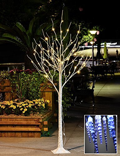- Lightshare 6 Feet Lighted Birch Tree, 72 LED Lights, Decoration for Home, Wedding, Festival, Party, Christmas