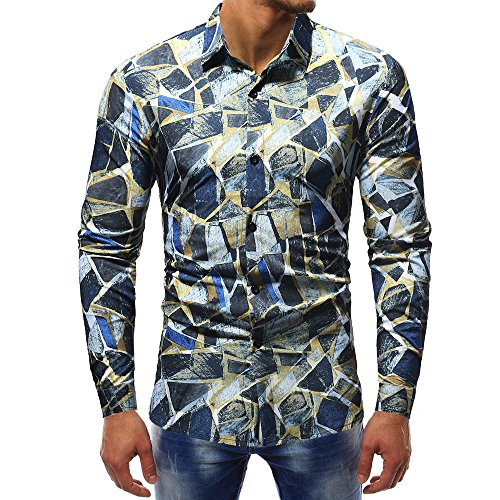 YOcheerful Man T Shirt T-Shirt Long Sleeve Tee Top Blouse Sexy Slim Polo (H,S) -