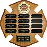 12 Plate FIREFIGHTER Maltese Cross Perpetual Plaque 12''x12'' FREE CUSTOM ENGRAVING Walnut Finish with Black Plates