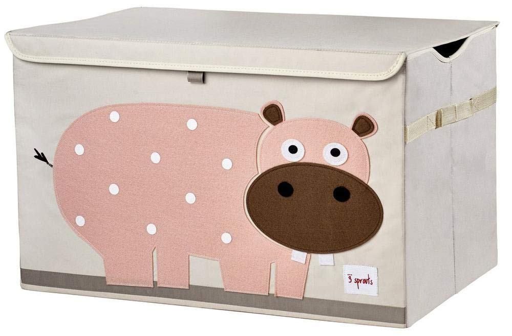 3 Sprouts Kids Toy Chest - Storage Trunk for Boys and Girls Room, Hippo
