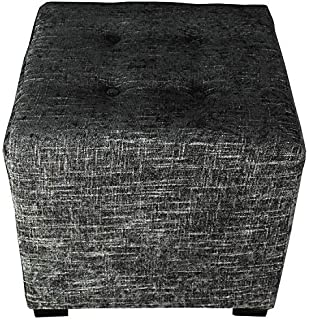 product image for MJL Furniture Designs Merton Collection, Fabric Upholstered Modern Cube Foot Rest Ottoman with 4 Button Tufting, Atlas Series, Steel