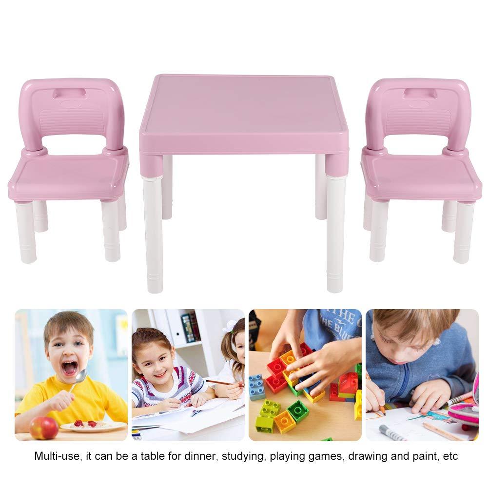 Ideale Come Regalo Rosa per Bambini Set Tavolo e 2 sedie Zoternen in plastica
