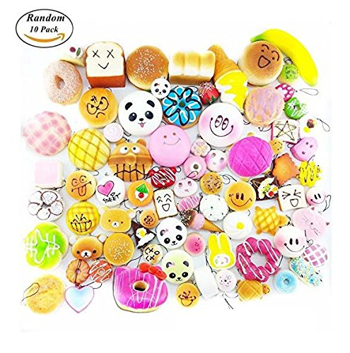 Random 10 Pack Squishies Slow Rising Soft Toys Charms Cell Gift Phone Chain Phone Straps