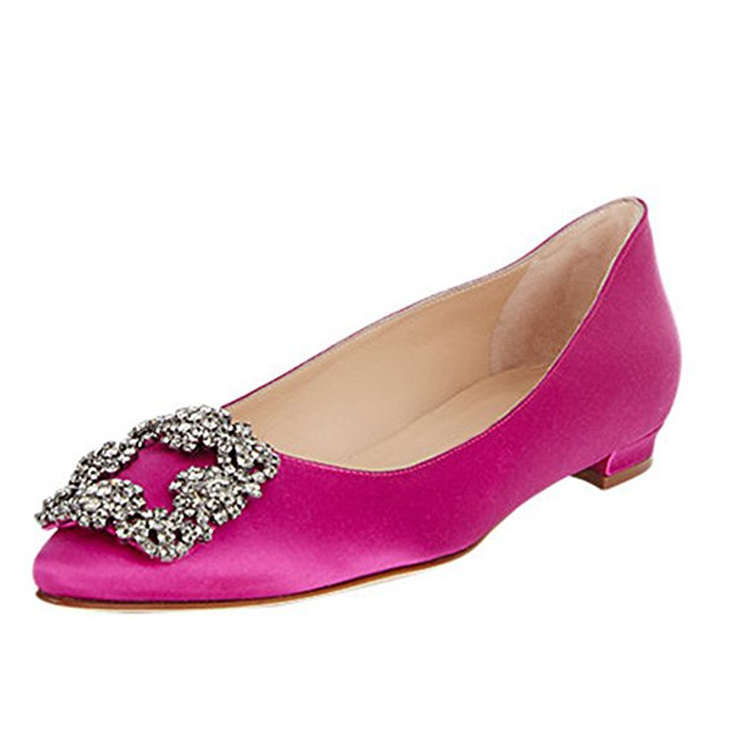 Comfity Women's Jewel-embellished Shoes Pointed Toe Ballet Low Heels Slip On Flats B06Y68GSQ6 5 B(M) US|Hot Pink