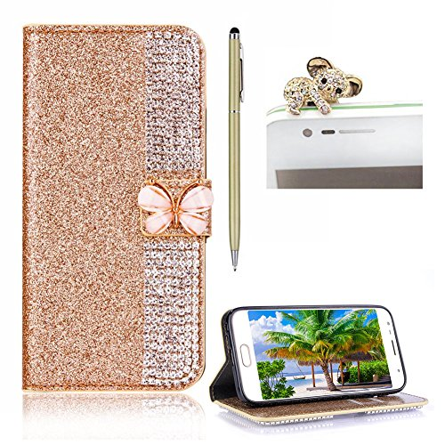 For Galaxy S6 Edge Leather Wallet Bling,SKYXD Bling Glitter Splicing Rhinestone [Butterfly Buckle] Stand Function Flip Book Wallet TPU Silicone Inner Protect Coverfor Samsung Galaxy S6 Edge,Gold