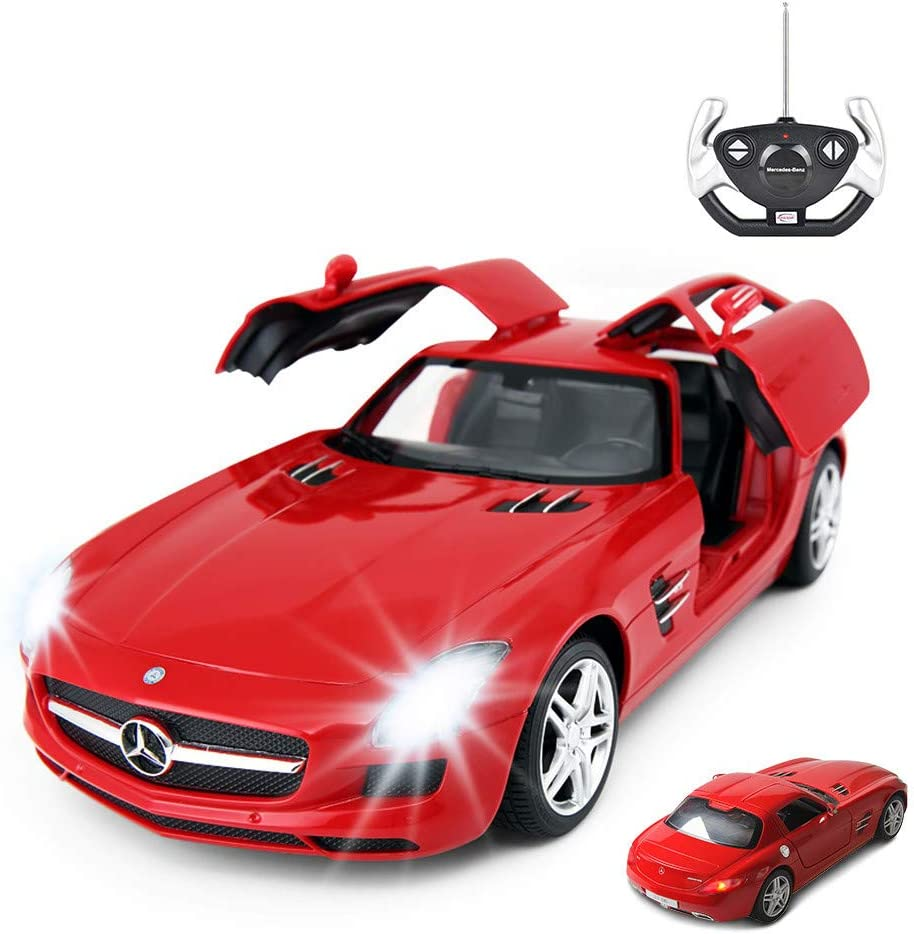 Amazon Com Rastar Rc Car 1 14 Scale Rc Mercedes Benz Sls Amg Remote Control Car For Kids Benz Model Car With Open Doors Working Lights Red Toys Games