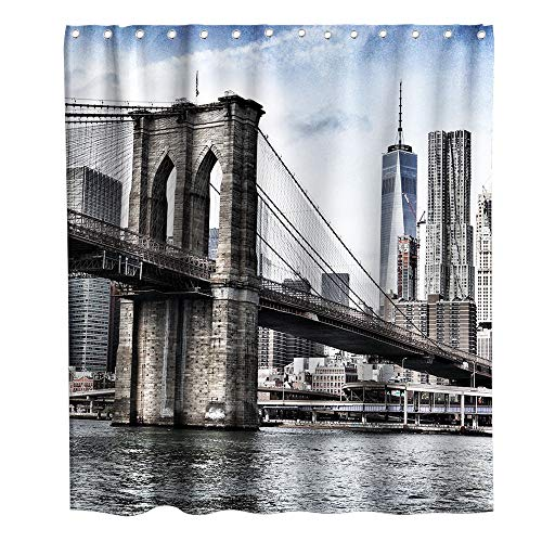 Lifeasy Grey Highway Bridge Over The Ocean Fabric Shower Curtain City Town Home Bath Decorations Bathroom Decor Sets with Hooks Waterproof Washable 72 x 72 inches