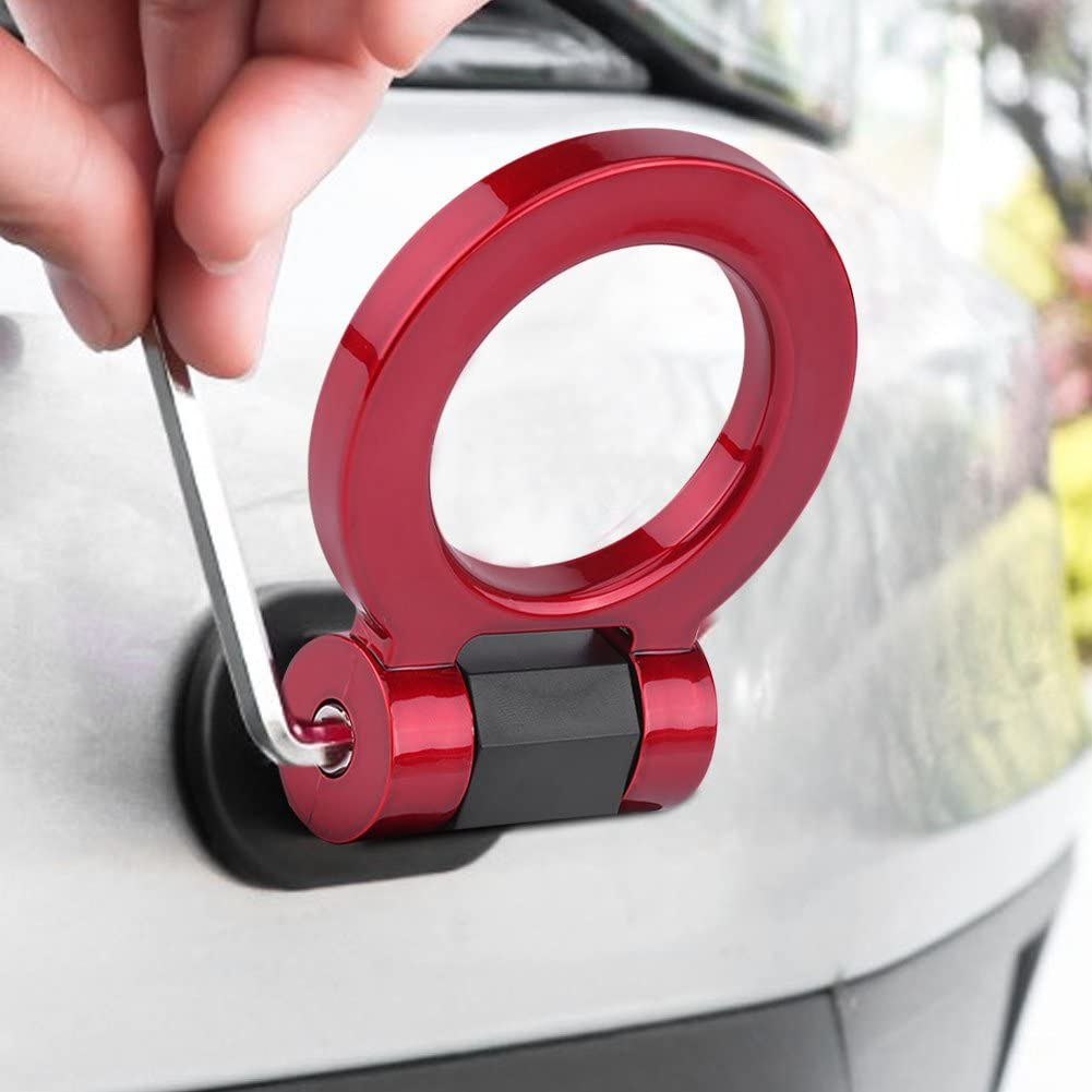 Red Rear Tow Towing Hook for Universal Car Auto Trailer Round Ring Towing Bars Trailer Hook Decoration