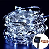 LEEPO Fairy String Lights Solor Power LED Waterproof Copper Wire For Home, Garden, Yard, Seasonal Decoration Chrismas Holiday Starry Lights (98ft 300 Leds, Cool White)