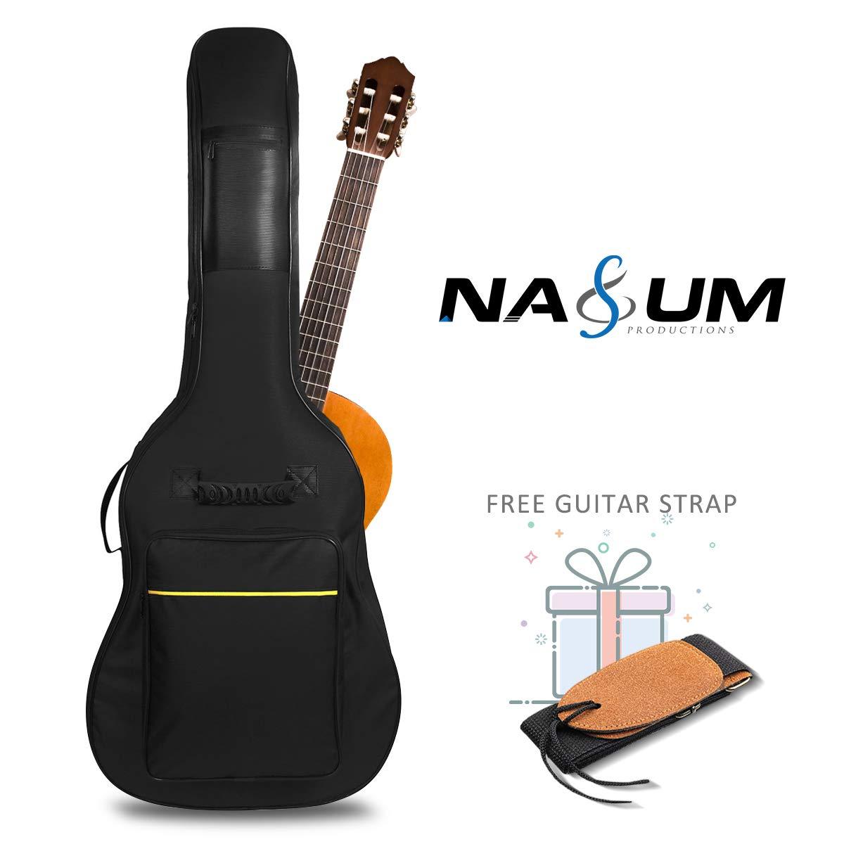 NASUM Funda para Guitarra 41 Pulgadas Bolsa Negra de Guitarra Impermeable Nylon 600D Oxford Goma en