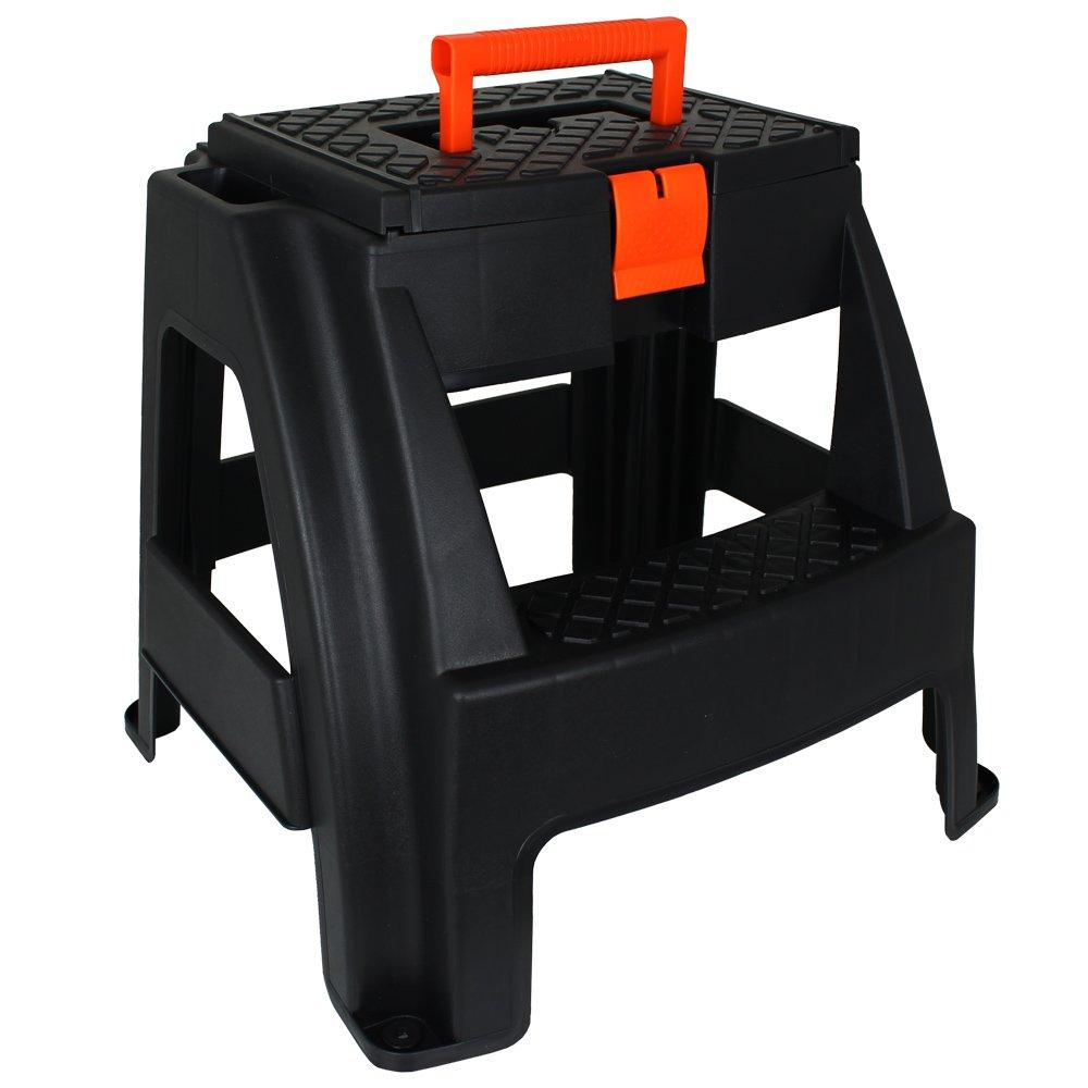 Hocker mit Werkzeugkiste - Werkzeugtruhe - Tritthocker mit Aufbewahrungsfach - Werkzeugkasten TW24