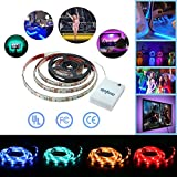 Simfonio Battery LED Strip Lights 1M 30LEDs IP65 Waterproof 5050 RGB TV LED Strip With Mini Controll