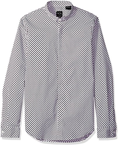 - A|X Armani Exchange Men's Long Sleeve Printed Aramni Shirt, White/Squares/Triangles, S