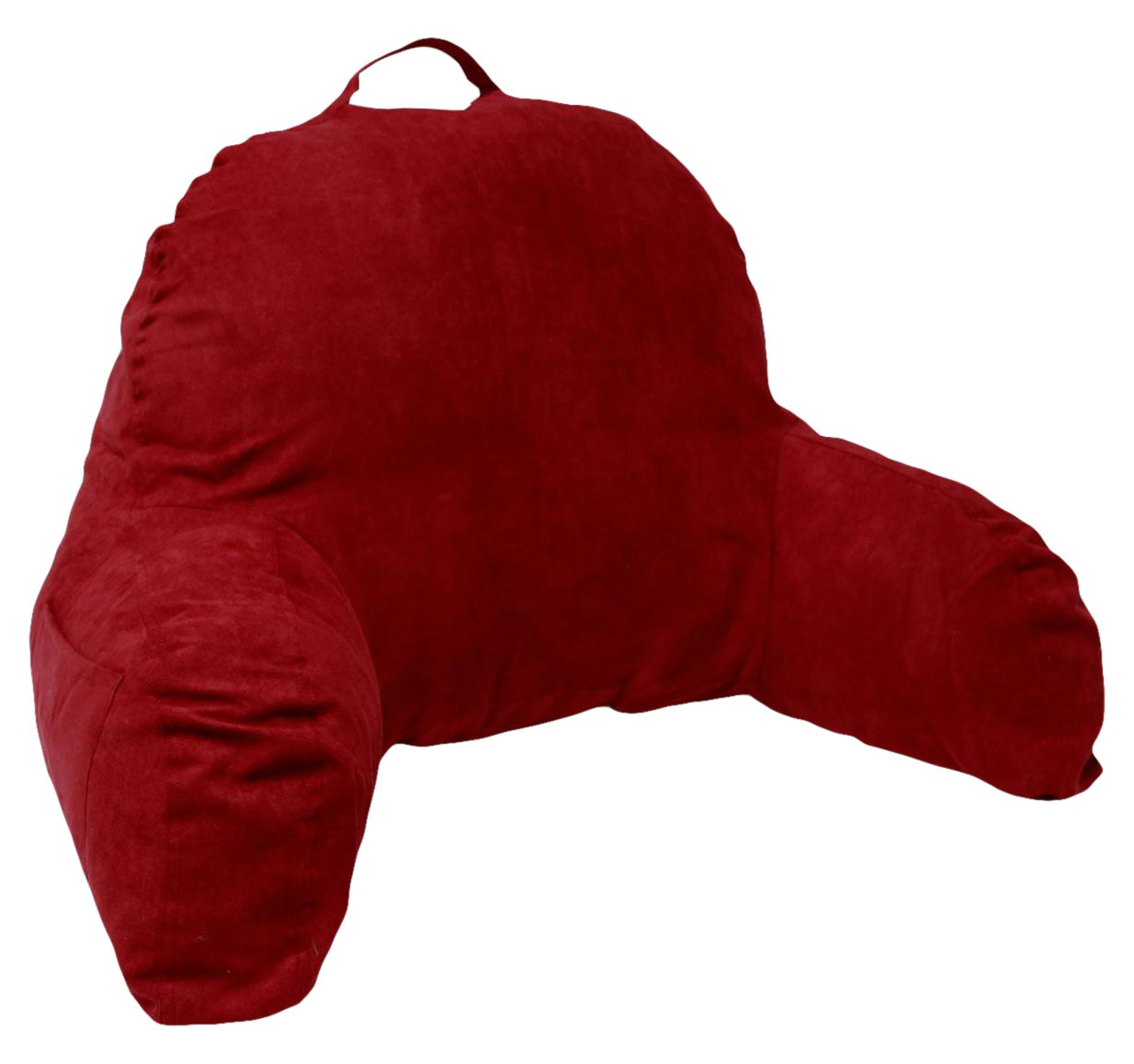 Bed pillow chair - Microsuede Bedrest Pillow Red Best Bed Rest Pillows With Arms For Reading In Bed