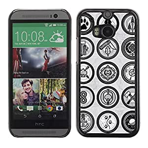 A-type Arte & diseño plástico duro Fundas Cover Cubre Hard Case Cover para All New HTC One (M8) ( Los signos de la vendimia )
