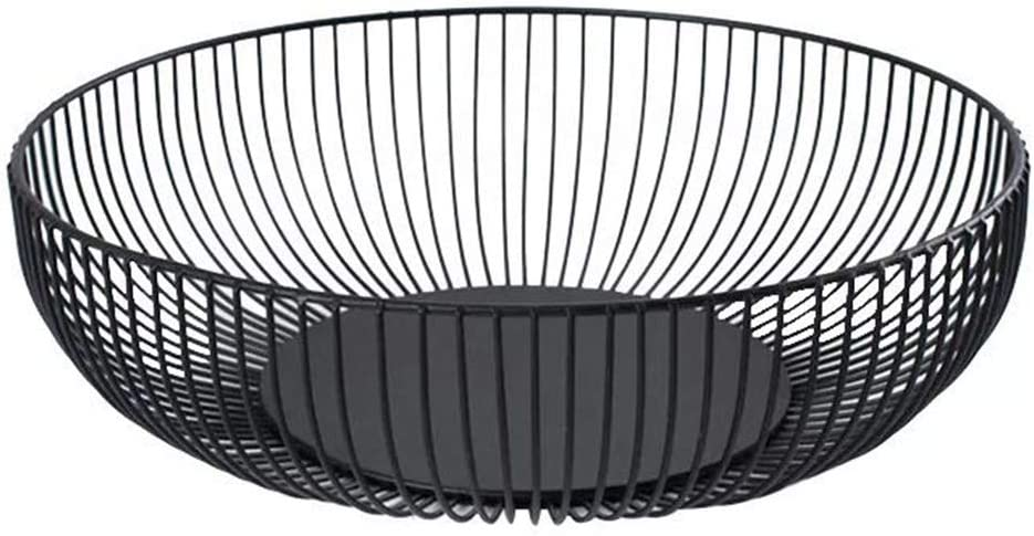 Metal Wire Countertop Fruit Bowl Basket Holder Stand for Kitchen   Black Modern Home Table Decor - 11 Inch (Hemisphere)