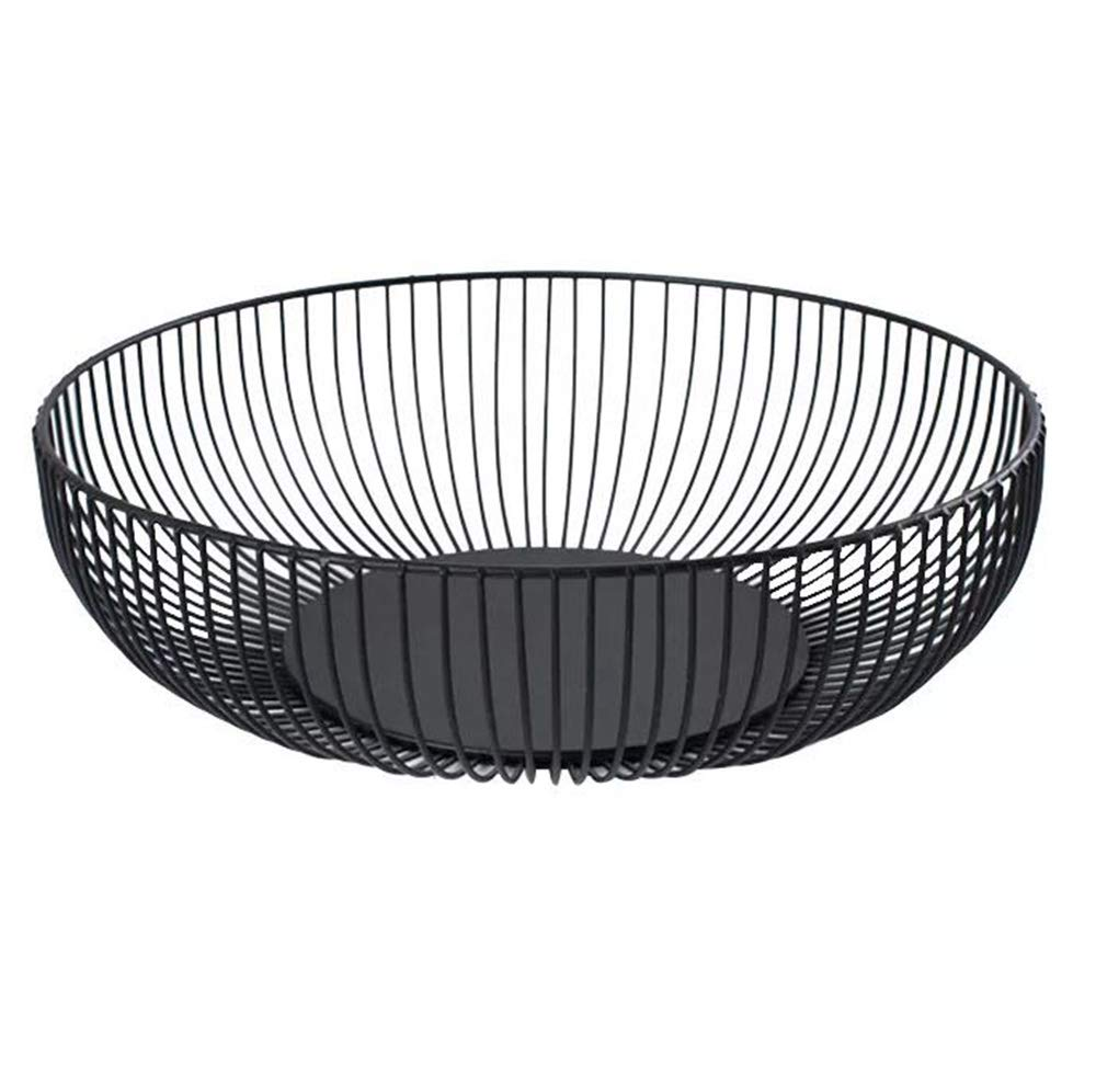 Metal Wire Countertop Fruit Storage Basket Stand for Kitchen, Large Hemisphere Black Decorative Table Centerpiece Holder for Bread, Candy, K Cup and Other Household Items, 11 Inch
