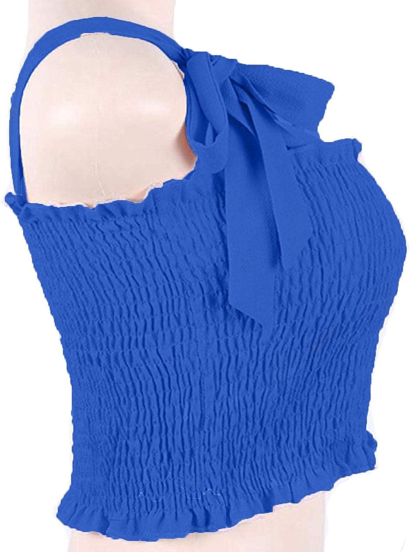 Lofbaz Womens Frill Smocked Crop Tank Top Tie Shoulder Strap Vest