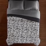 CA 1 Piece White Black Zebra Striped Comforter Full/Queen Sized, Safari Zebra Stripes Bedding Zoo Jungle Wild Animal Print Soft, Reversible Solid Microfiber Polyester