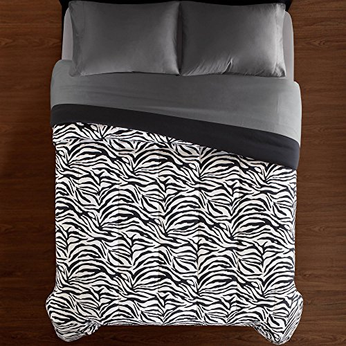 CA 1 Piece White Black Zebra Striped Comforter Full/Queen Sized, Safari Zebra Stripes Bedding Zoo Jungle Wild Animal Print Soft, Reversible Solid Microfiber Polyester by CA