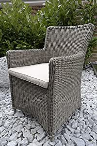 "'6x silla de ratán, ""Lirio Terraza Muebles de Jardín muebles de jardín ratán silla gris"