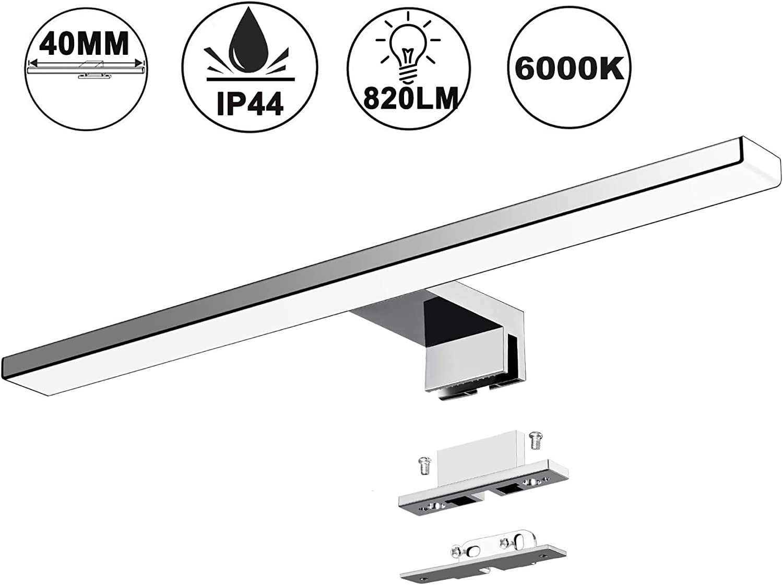 Lámpara LED de Espejo 10W 820LM 40mm Lámpara de Baño Azhien, Blanco Frio 6000K Lámpara LED de Pared IP44 230V Luz de Espejo de Baño de Acero Inoxidable 40cm