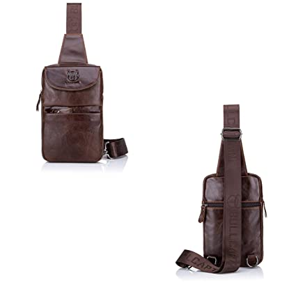 61fc4d68a950 Amazon.com: Huijunwenti Shoulder Bag, Leather, Male Chest Bag, Suede ...