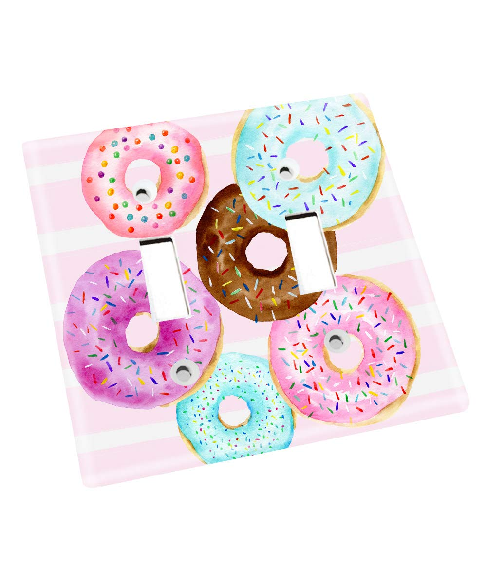 Pink Donuts Sprinkles Confetti Bakery Pink Purple Aqua Girls Nursery Bedroom Light Switch Cover LS0105 (Double Standard) by Toad and Lily