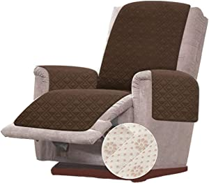 RHF Anti-Slip Chair Covers for Leather Sofa, Slip-Resistant for Chair, Recliner Cover, Furniture Protectors for Recliner Chair Cover, Machine Washable(Recliner-Small: Chocolate)