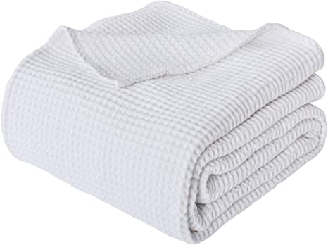 100/% Pure Cotton Waffle Bed Blanket Breathable Comfy Textured Twin Queen King