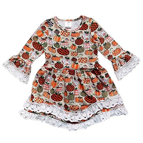 So Sydney Toddler Girls Boho Ruffle Crochet Lace Trim Flare Sleeve Dress (S (3T), Fall Pumpkin Patch)