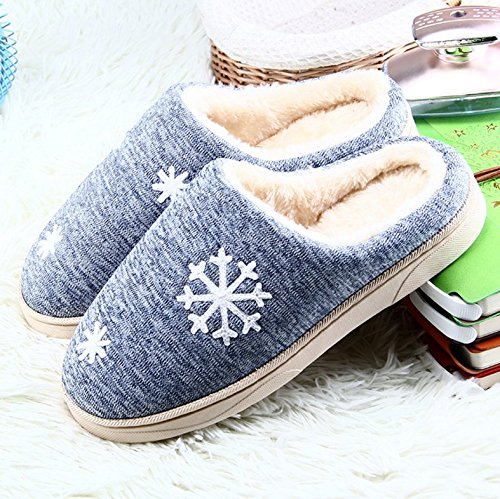 Pantofole Da Donna In Cotone Invernale Da Uomo Winzik Accogliente Foderato In Peluche Con Fiocco Di Neve Antiscivolo Suola Interna Calda Scarpe Blu