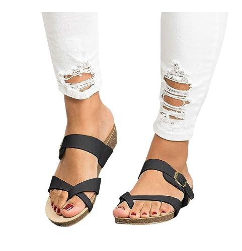 Lueyifs Damen Sandalen Flachen Gladiator Sommerschuhe Flip Flop Schnalle Thong Schuhen