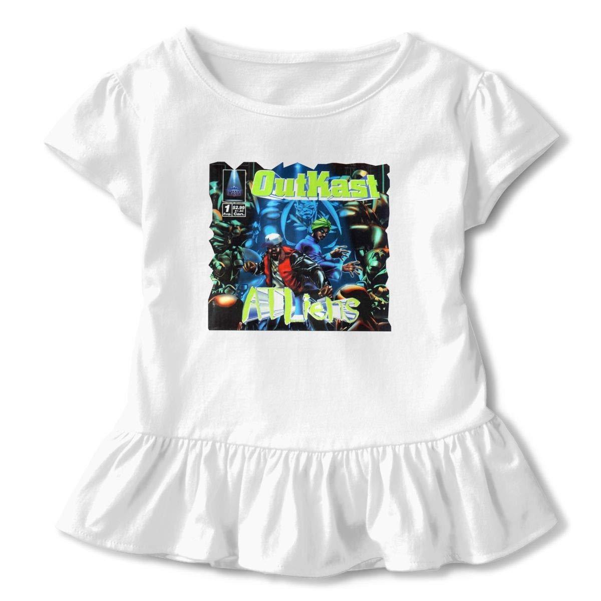 Kid T Shirt Outkast ATLiens 3D Tee Baseball Ruffle Short Sleeve Cotton Shirts Top for Girls Kids