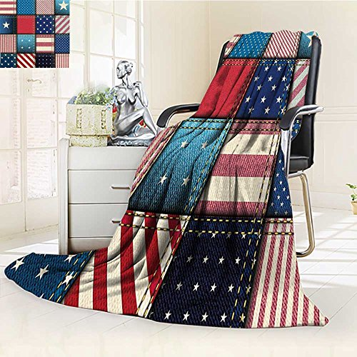 (YOYI-HOME Digital Printing Duplex Printed Blanket Farmhouse Flag Patchwork with Vertical and Horizontal Stripe and Star Forms Red Blue Summer Quilt Comforter /W31.5 x H47)