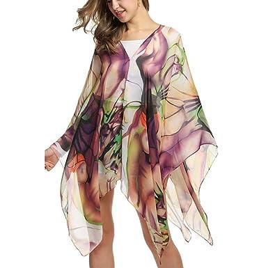 b66cf911db36a Image Unavailable. Image not available for. Colour  GaoCold Women Beach  Dress Cover up Kaftan Chiffon Sarong Summer Wear Shawl Swim Bikini Wrap  Beachwear