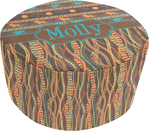 African Lions & Elephants Round Pouf Ottoman (Personalized) by RNK Shops