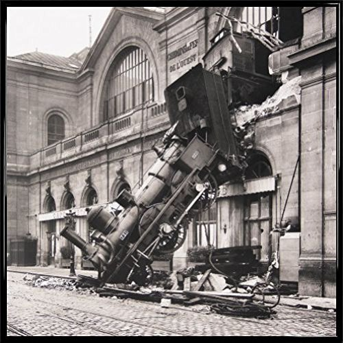 Trains Poster Art Print and Frame (Plastic) - Train Wreck at Montparnasse Station, Paris, France, 1895 (16 x 16 inches)